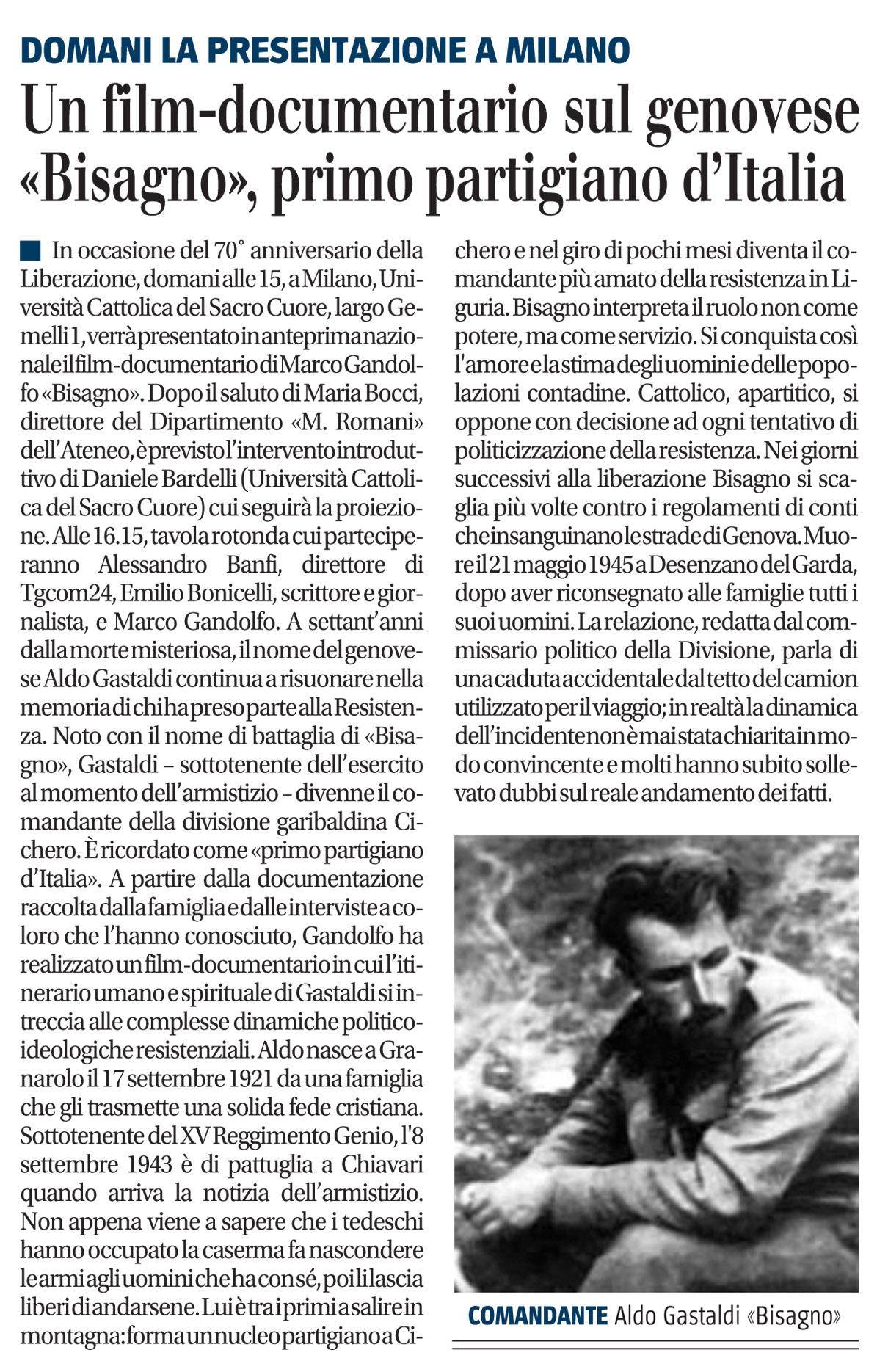 "Il film documentario sul genovese ""Bisagno"", primo partigiano d'Italia"