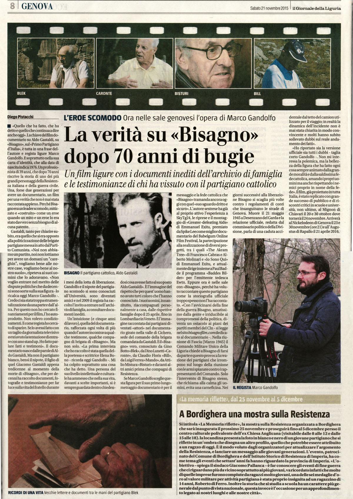 """""""La verità su Bisagno dopo 70 anni di bugie"""" (Diego Pistacchi su """"Il Giornale"""")"""